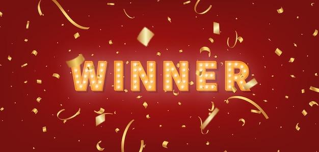 Plantilla de carpa de oro ganador. texto de bombilla y confeti para felicitaciones al ganador.