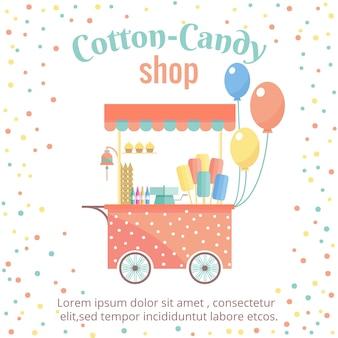 Plantilla de carrito de compras callejero de algodón de azúcar y helado