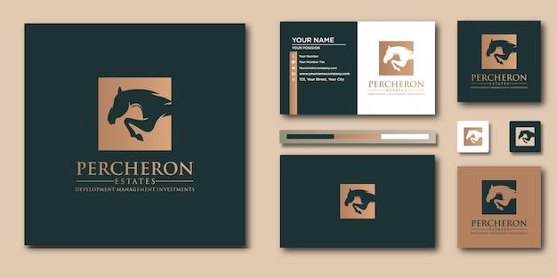 Plantilla de carta de logotipo de caballo de lujo con concepto moderno y diseño de tarjeta de visita
