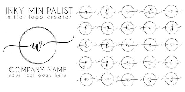 Plantilla de carta de logotipo inicial de tinta minimalista
