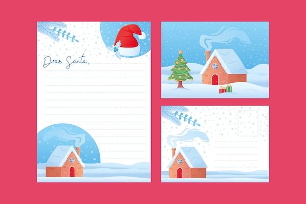 Plantilla de carta de navidad queridos niños de santa lista de deseos en blanco y plantilla de postal en estilo de dibujos animados