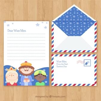 Plantilla de carta de navidad y de sobre con niños