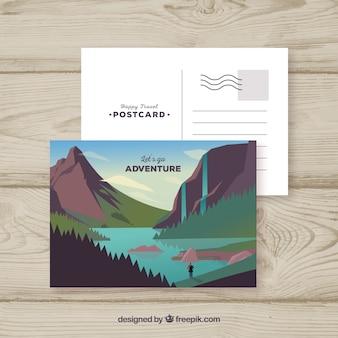 Plantilla de carta postal con concepto de viajar