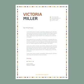 Plantilla de carta de presentación de marketing de analista de investigación de mercado ornamental moderno