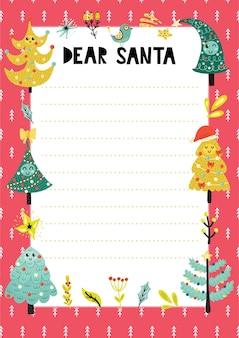 Plantilla de carta a santa claus con divertidos árboles de navidad. lista de deseos navideños a4.