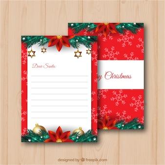 Plantilla de una carta a santa con decoraciones navideñas