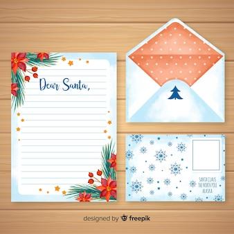 Plantilla de carta y sobre de navidad en acuarela
