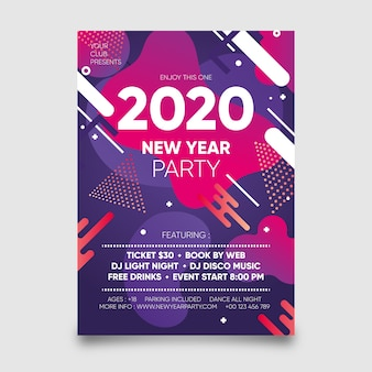 Plantilla de cartel abstracto fiesta año nuevo 2020