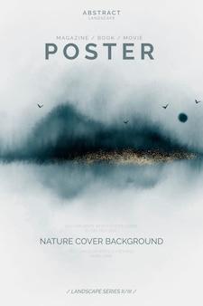 Plantilla de cartel abstracto con paisaje elegante