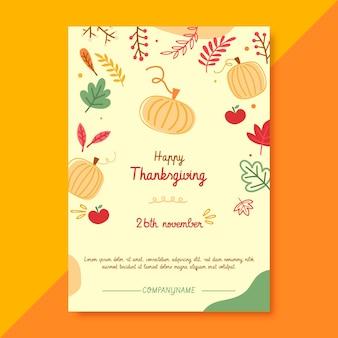 Plantilla de cartel de acción de gracias con calabazas y hojas