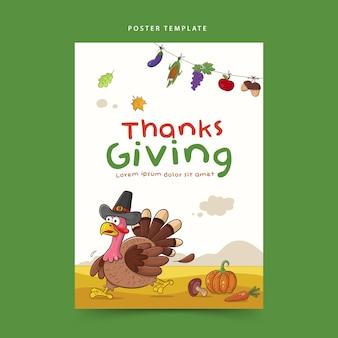 Plantilla de cartel de acción de gracias con dibujos animados de pavo