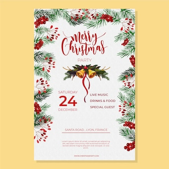 Plantilla de cartel acuarela fiesta de navidad
