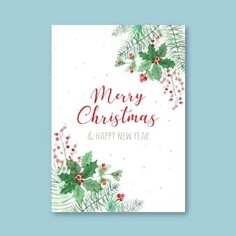 Plantilla de cartel de acuarela para navidad
