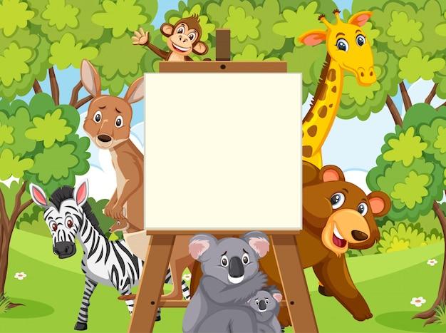 Plantilla de cartel con animales salvajes en el bosque