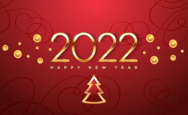 Plantilla de cartel de año nuevo 2022 con brillantes bolas de oro y árbol de navidad sobre fondo rojo vector