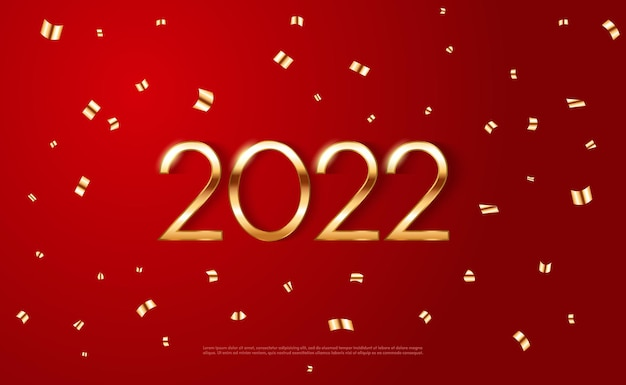 Plantilla de cartel de año nuevo 2022 con brillantes estrellas doradas y confeti sobre fondo rojo vector