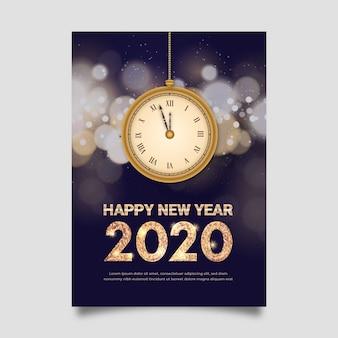 Plantilla de cartel de año nuevo realista