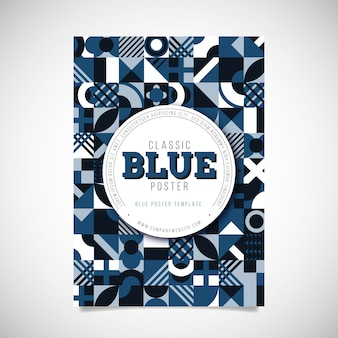 Plantilla de cartel azul abstracto