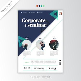 Plantilla de cartel azul, corporativo de empresa y seminario.
