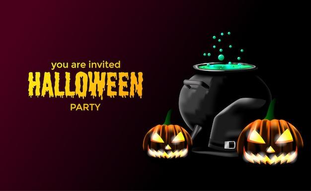 Plantilla de cartel de banner de invitación de halloween