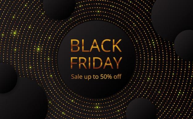 Plantilla de cartel de banner de oferta de venta de viernes negro con brillo de punto dorado de círculo