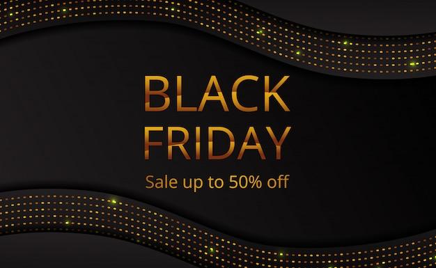 Plantilla de cartel de banner de oferta de venta de viernes negro con brillo de punto dorado