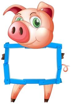 Plantilla de cartel en blanco con cerdo lindo sobre fondo blanco