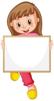 Plantilla de cartel en blanco con linda chica sobre fondo blanco