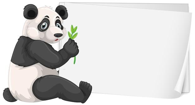 Plantilla de cartel en blanco con lindo panda en blanco