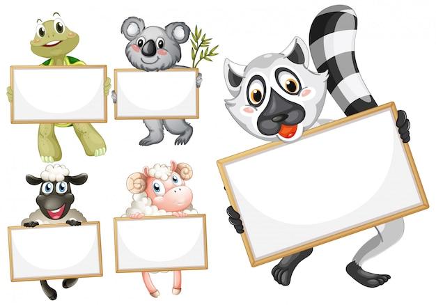 Plantilla de cartel en blanco con lindos animales sobre fondo blanco