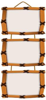 Plantilla de cartel en blanco con marcos de madera sobre fondo blanco