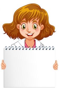 Plantilla de cartel en blanco con médico feliz sobre fondo blanco