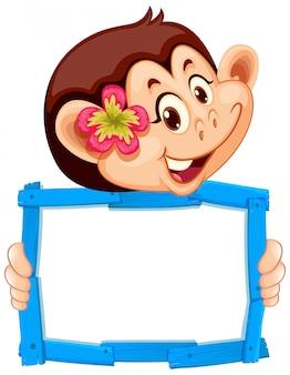 Plantilla de cartel en blanco con mono lindo sobre fondo blanco