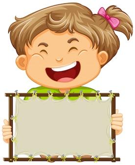 Plantilla de cartel en blanco con niña feliz sobre fondo blanco