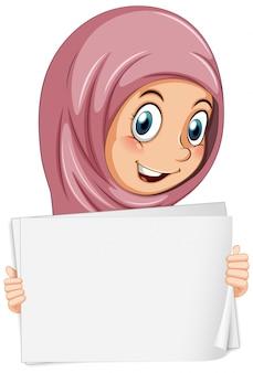 Plantilla de cartel en blanco con niña musulmana sobre fondo blanco