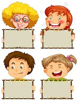 Plantilla de cartel en blanco con niños felices sobre fondo blanco