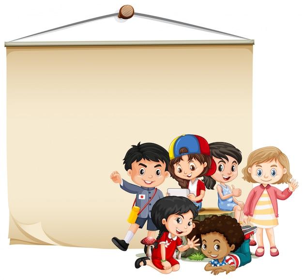 Plantilla de cartel en blanco con niños y niñas