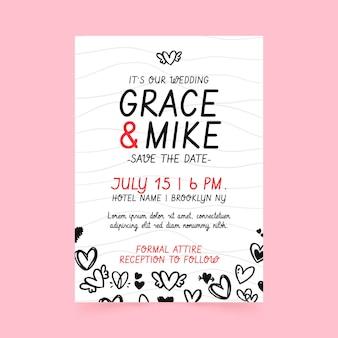 Plantilla de cartel de boda con corazones garabatos