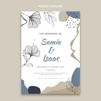 Plantilla de cartel de boda dibujado a mano