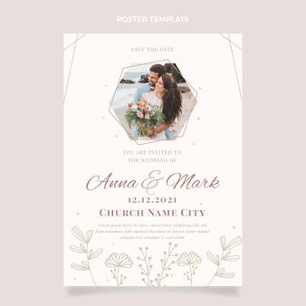 Plantilla de cartel de boda floral dibujado a mano