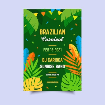 Plantilla de cartel de carnaval brasileño