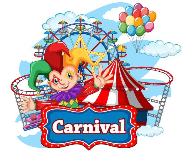 Plantilla de cartel de carnaval con payaso feliz y muchas atracciones