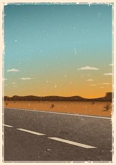 Plantilla de cartel de carretera vintage, fondo con carretera asfaltada, desierto, montañas y puesta de sol. textura grunge