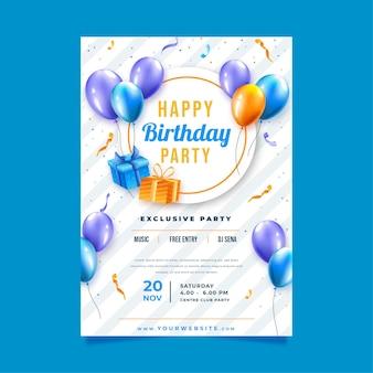 Plantilla de cartel para celebración de cumpleaños