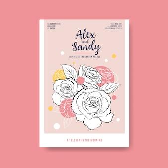 Plantilla de cartel con ceremonia de boda para folleto y prospecto