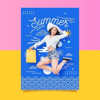 Plantilla de cartel de chica de moda de verano