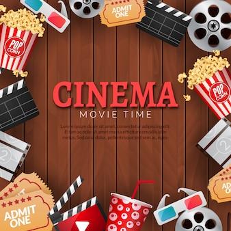 Plantilla de cartel de cine de cine. rollo de película, palomitas de maíz, badajo, gafas 3d.