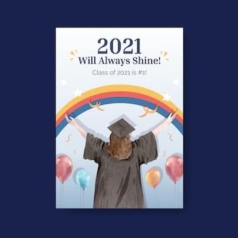 Plantilla de cartel con clase de 2021 en estilo acuarela.