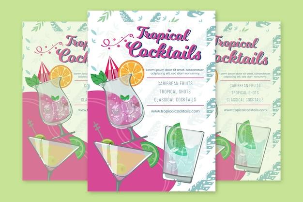 Plantilla de cartel de cócteles tropicales