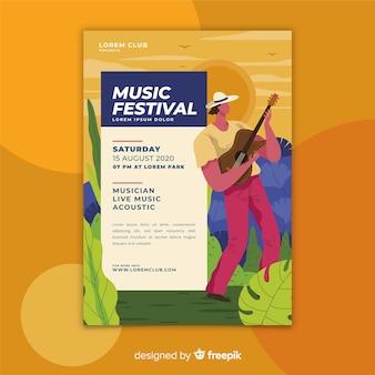 Plantilla de cartel colorido festival de música dibujada a mano